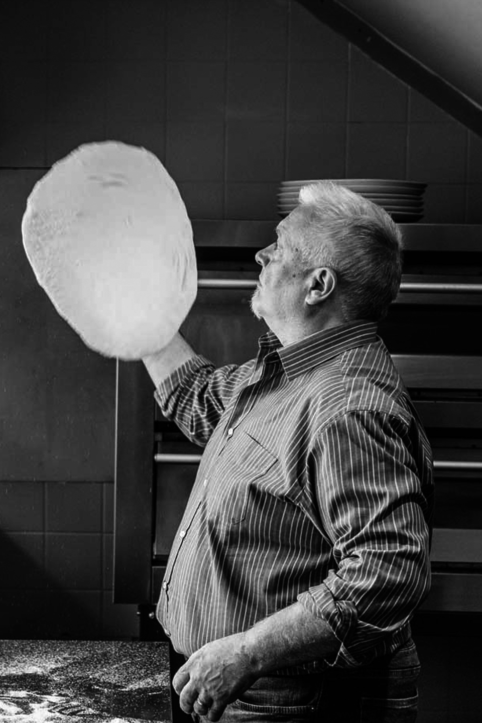 Tossing Pizza Dough at Mamma Mia Banchory