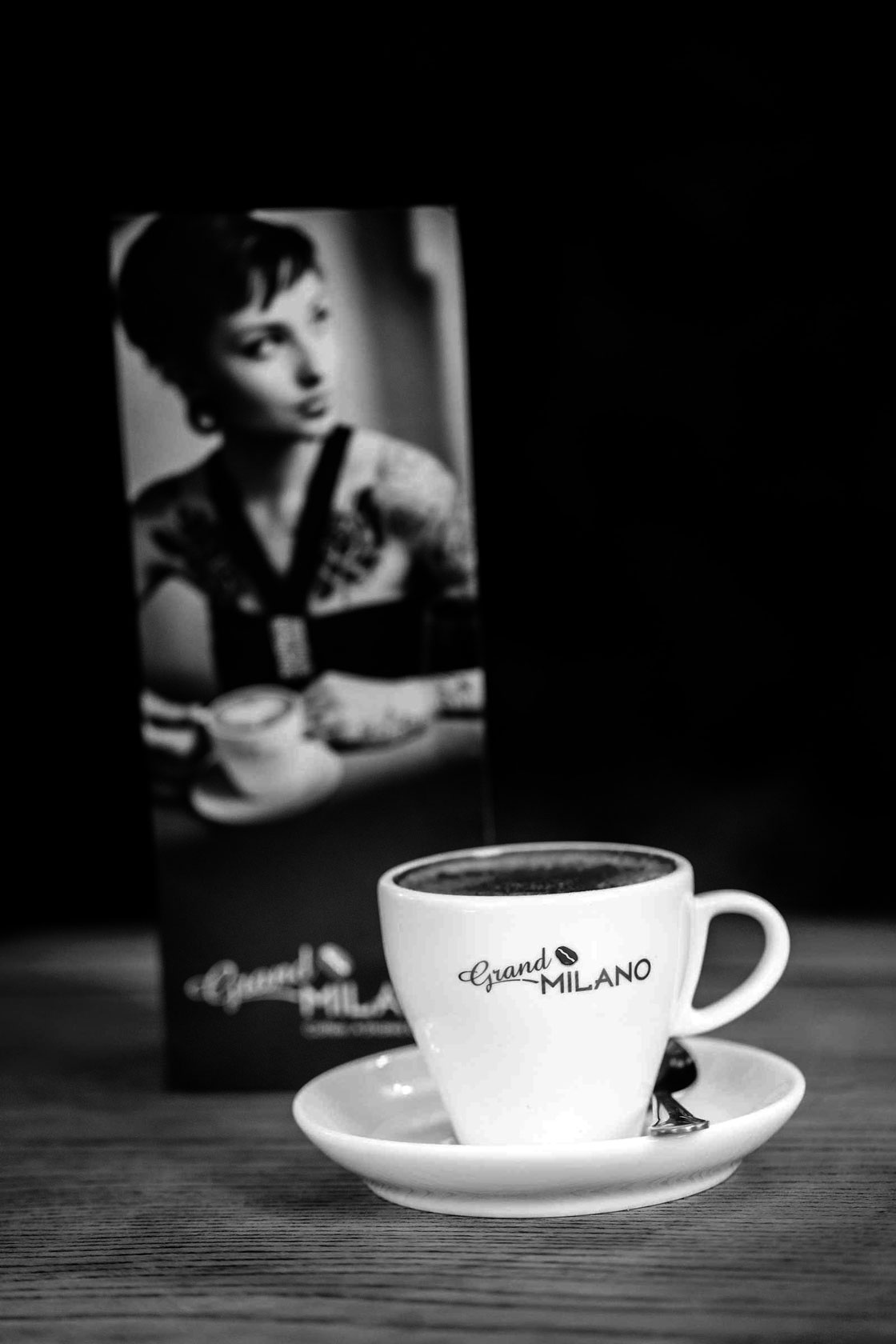 Black and white Coffee at Mamma Mia Banchory